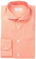 Eton Long Sleeve Slim Fit Orange Check Dress Shirt