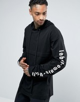 Asos Hooded Oversized Long Sleeve T-Shirt With Super Long Printed Sleeves