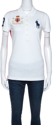 Ralph Lauren White Cotton Pique Logo Detail Skinny Polo T-Shirt M