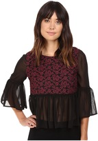 BB Dakota Arwen Embroidiered Mesh Top w/ Chiffon