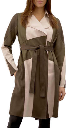 Anna Cai Color Block Faux Suede Trench Coat