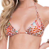 Luli Fama Reversible Zig Zag Knotted Cut Out Triangle Top In Multicolor