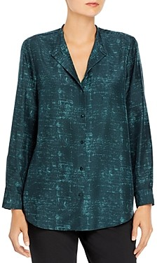 Eileen Fisher Printed Silk Blouse