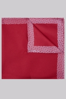 Moss London Red Geo Boarder Pocket Square