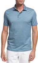 Ermenegildo Zegna Maze Chevron Cotton Polo Shirt, Teal Blue