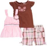 Children's Apparel Network Pink & Brown Flutter-Sleeve Tee Set - Infant