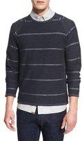 Billy Reid Striped Long-Sleeve Knit Sweater, Navy