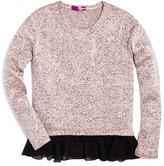 Aqua Girls' Chiffon Trimmed Marled Knit Top - Sizes S-XL