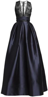 ZUHAIR MURAD Japanese Garden Satin V-Neck Ball Gown
