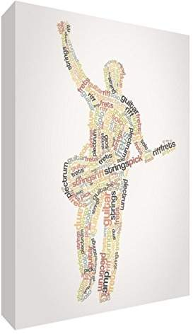 Camilla And Marc Feel Good Art Premium, Gallery-Wrapped Box Canvas with Solid Front Panel in Quirky Typographic Male Guitarist Design, Wood, Multi-Colour, 91 x 60 x 3 cm