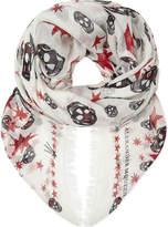 Alexander McQueen Skull and star print silk scarf
