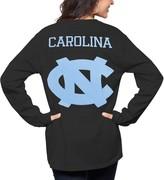 Women's Pressbox Black North Carolina Tar Heels The Big Shirt Oversized Long Sleeve T-Shirt