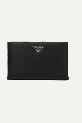 Prada Leather-trimmed Shell Pouch - Black