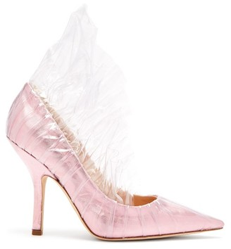Midnight 00 Shell Lame & Pvc Ruched Pumps - Womens - Light Pink