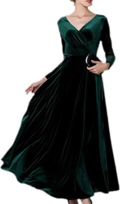Sevozimda Women Elegant Velvet Dress Long Sleeve V Neck Swing Maxi Party Dresses Christmas Purple XXL