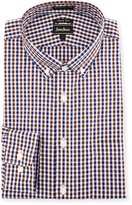 Neiman Marcus Trim-Fit Non-Iron Plaid Dress Shirt, Brown