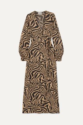 Ganni Tiger-print Crepe Wrap Midi Dress - Sand
