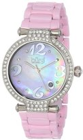 Burgi Women's BUR071PK Quartz Date Ceramic Bracelet Watch
