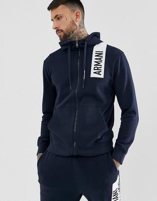 Armani Exchange hooded chest logo zip through sweat in navy