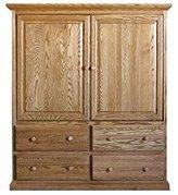 Forest Designs Traditional TV Armoire, 57W x 66H x 18D, Whitewash Oak