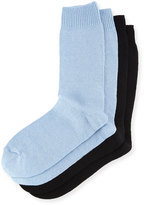 Neiman Marcus Two-Pair Cashmere-Blend Socks, Blue/Black