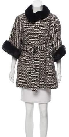 Armani Collezioni Fur-Trimmed Patterned Coat