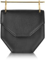 M2Malletier Amor Fati Black Leather Shouder Bag w/Double Metal Handles