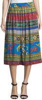 Etro Ribbon Floral-Print Cotton Midi Skirt