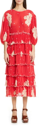 Ganni Polka Dot Tiered Long Sleeve Plisse Midi Dress