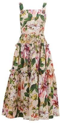 Dolce & Gabbana Floral-print Cotton-poplin Midi Dress - Womens - Pink Print