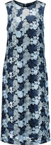 DKNY Floral-embroidered mesh dress
