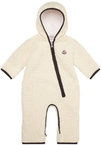 Moncler Fuzzy Hooded Fleece Coverall, White, Size 6M-2