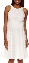 London Times London Style Collection Sleeveless Eyelet Halter Dress