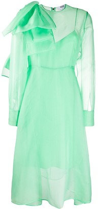 MSGM Bow-Embellished Sheer Dress