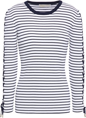 MICHAEL Michael Kors Lace-up Striped Ribbed-knit Top