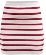 Balmain Striped Knitted Mini Skirt - Womens - Red White