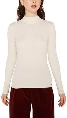 Esprit Womens Long Sleeved Mock Neck Sweater - Natural