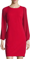 Donna Ricco Pleated-Sleeve Crepe Dress, Red
