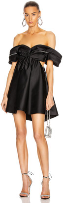 Area Crystal Cutout Draped Dress in Black | FWRD