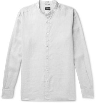 Ermenegildo Zegna Grandad-Collar Melange Linen Shirt