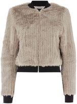 Bardot Long Sleeve Faux Fur Bomber Jacket