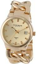Akribos XXIV Women's AK608YG Impeccable Diamond Swiss Quartz Twist Chain Bracelet Watch