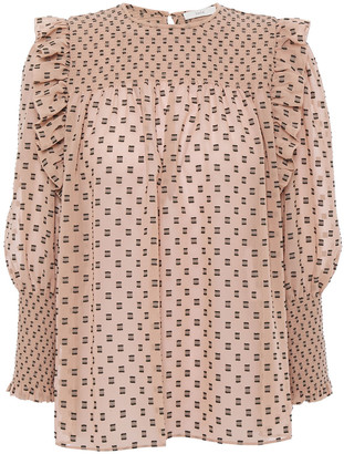 Joie Jamila Ruffle-trimmed Shirred Fil Coupe Top