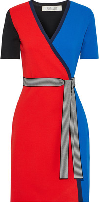 Diane von Furstenberg Francine Color-block Stretch-knit Wrap Dress