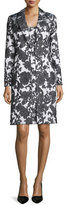 Albert Nipon Sleeveless Floral Jacquard Dress w/ Jacket, Black/Creme