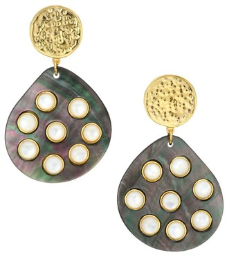 Nest Studded Grey Mother-Of-Pearl Drop Earrings