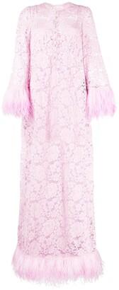 Dolce & Gabbana Feather-Trim Lace Maxi Dress