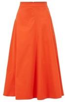 HUGO BOSS - A Line Midi Skirt In Cotton Blend Twill - Orange