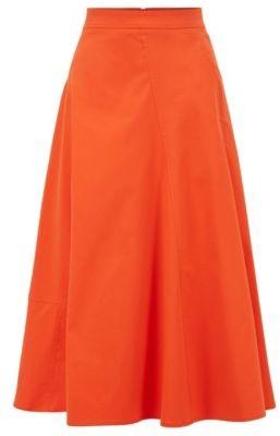 HUGO BOSS A Line Midi Skirt In Cotton Blend Twill - Orange
