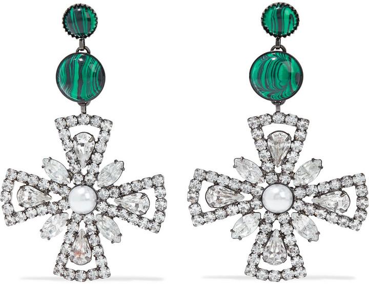 Elizabeth Cole Poppy Hematite-plated, Swarovski Crystal And Stone Earrings